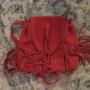 Used suede mini fringe backpack
